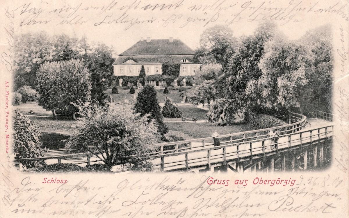 1900 circa - Palac przed rozbudowa 3 osoby na moscie